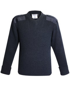 Command Acrylic Wool Rib Knit V-Neck Sweater - 700