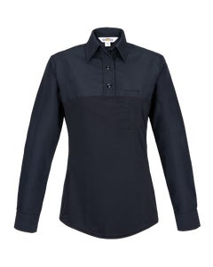 Front view of Women's Justice hybrid long sleeve polo designed by Flying Cross