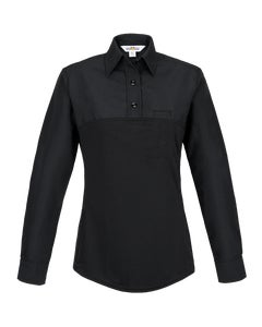 FX STAT women's long sleeve hybrid polo shirt with stretch designed by Flying Cross uniforms