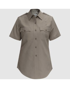 CDCR Deluxe Tropical Poly/Rayon Women's Short Sleeve Shirt in Silver Tan by Flying Cross
