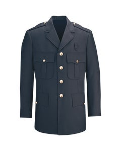 Front view of LAPD Navy Command polyester single breasted dress coat designed by Flying Cross