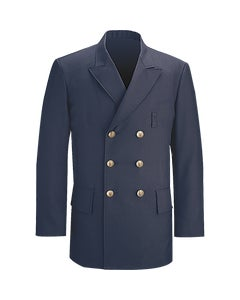 Front view of Command 100% polyester double breasted dress coat in LAPD Navy designed by Flying Cross