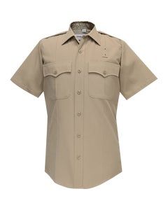 DELUXE TROPICAL MENS SHORT SLEEVE SHIRT SILVER TAN