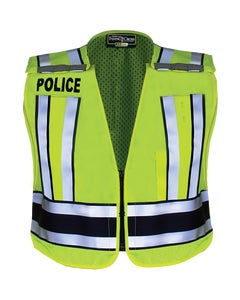 HIVIS YELLOW PRO SERIES SAFETY VEST WITH NAVY BAND AND POLICE LETTERING